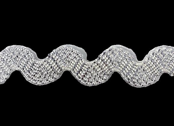 Zackenlitze 10mm Lurex weiß / silber