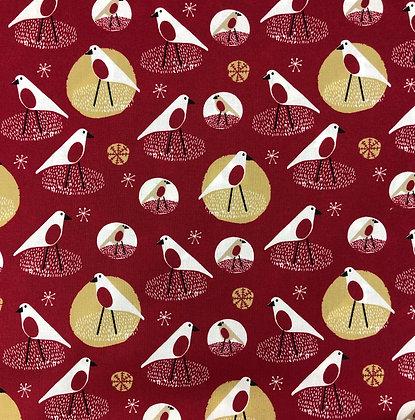 Baumwollstoff Trondheim Vögel rot
