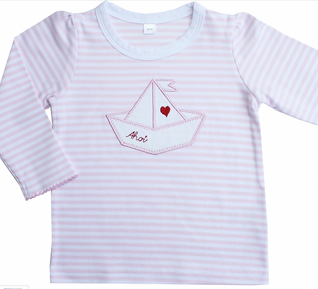 """Kinder Langarm-T-Shirt mit Faltboot, rosa-gestreift"
