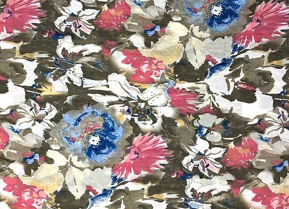 Baumwolle Viskose Herbstblumen Khaki