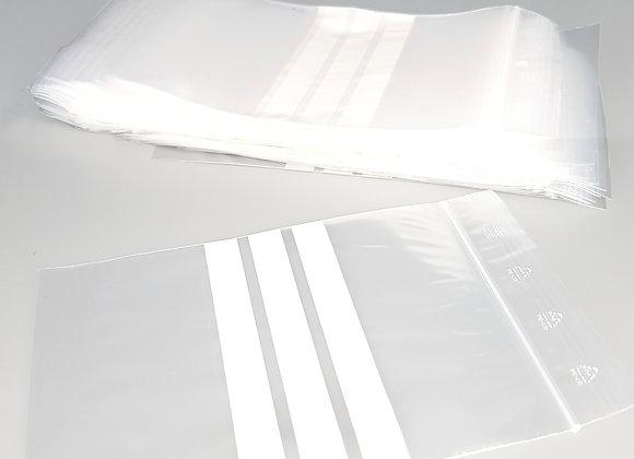 Sachet zip plastique bandes blanches
