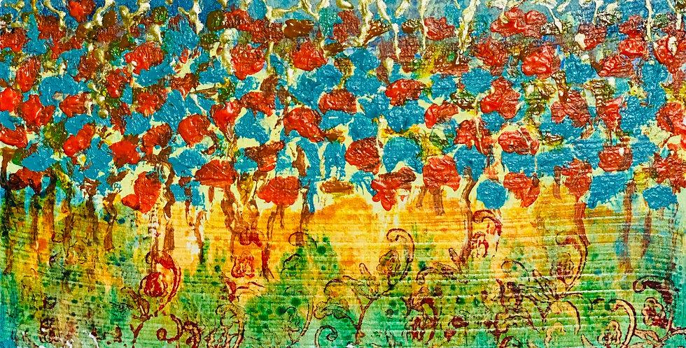 a tiny original abstract painting of a hanging garden, Philadelphia Artist, Vidya Shyamsundar