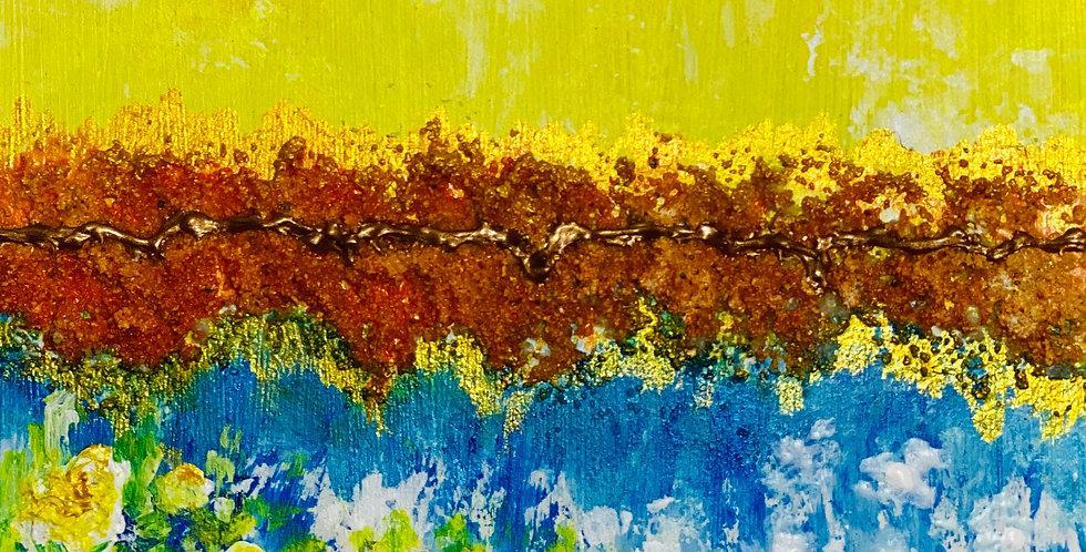 small yellow bouquet of flowers painting, Mixed Media Artist, Vidya Shyamsundar, Philadelphia