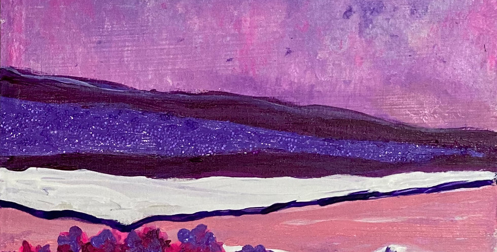 a small painting with purple and white mountains, Philadelphia Artist, Vidya Shyamsundar