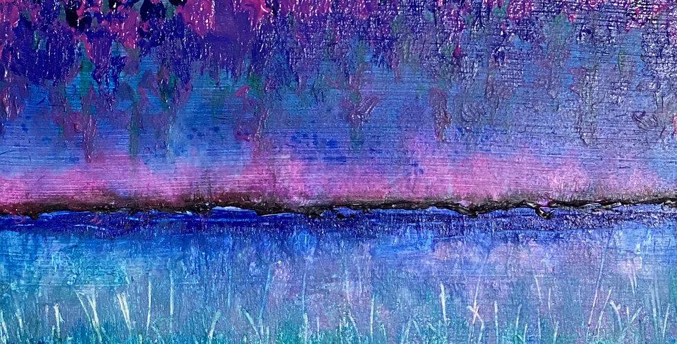 a small abstract landscape painting of night time wonders, Philadelphia Artist, Vidya Shyamsundar