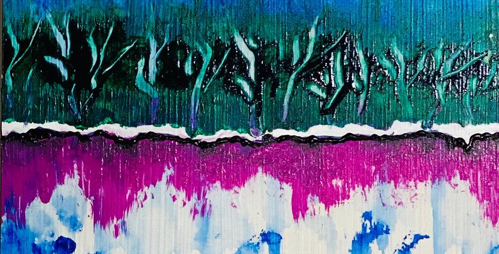 a small abstract waterfall painting in Hawaii, Philadelphia Artist, Vidya Shyamsundar