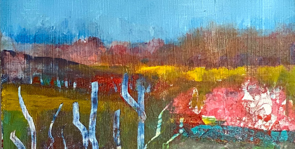 a tiny abstract painting of meadows, Philadelphia Artist, Vidya Shyamsundar