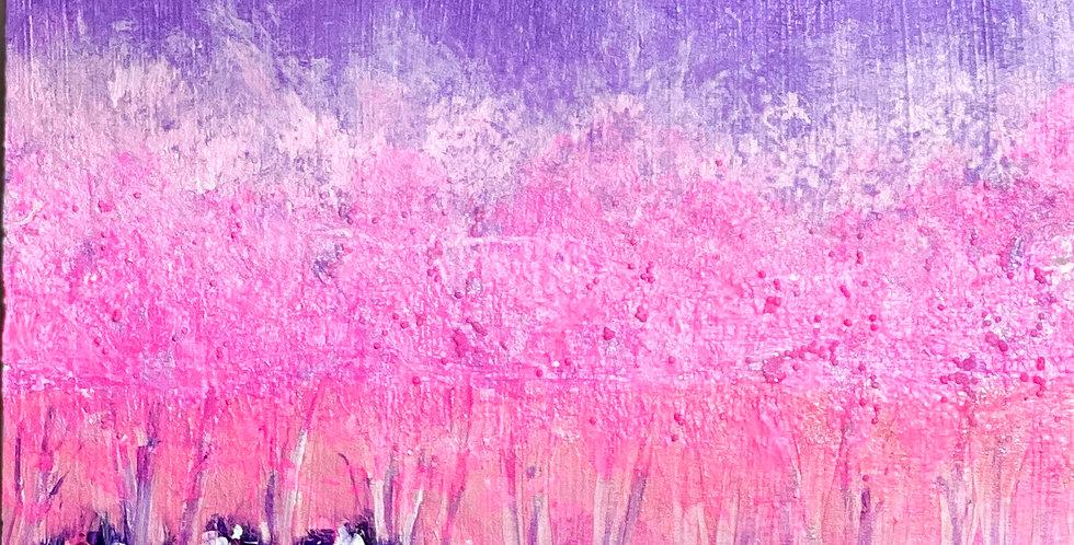 a small pink landscape painting, Philadelphia Artist, Vidya Shyamsundar