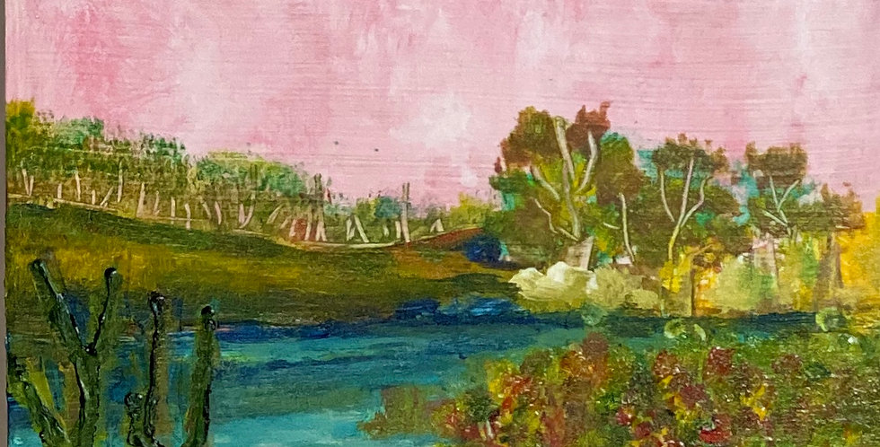 a tiny painting of pink sky, blue water and green trees, Philadelphia Artist, Vidya Shyamsundar