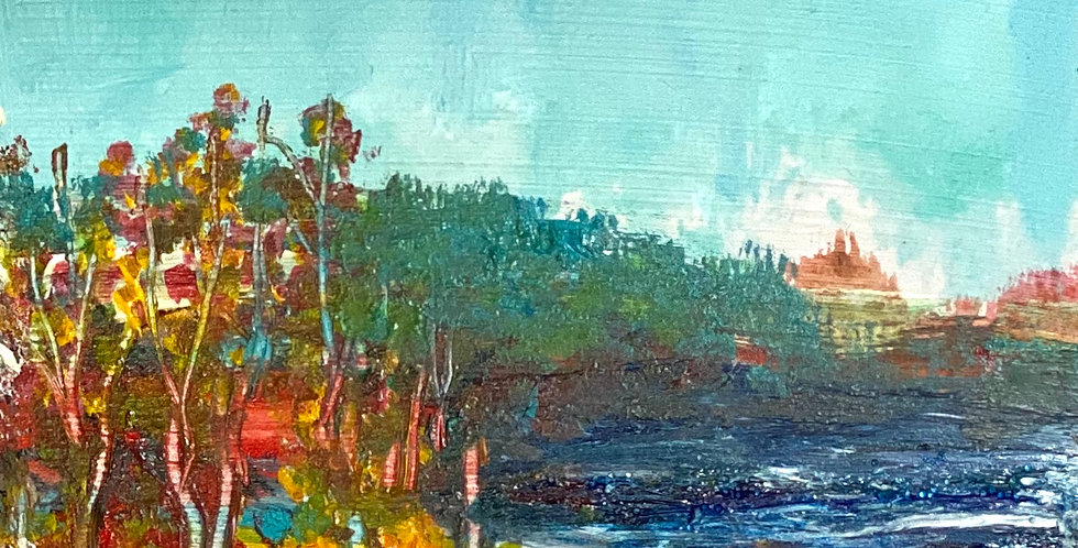 a small painting of fall colors, Philadelphia Artist, Vidya Shyamsundar