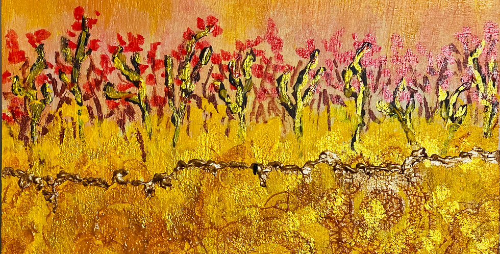 a small yellow and gold painting with red flowers, Philadelphia Artist, Vidya Shyamsundar