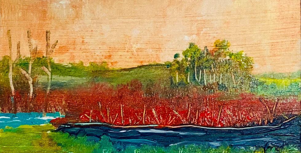a small landscape painting of marsh creek, Philadelphia Artist, Vidya Shyamsundar