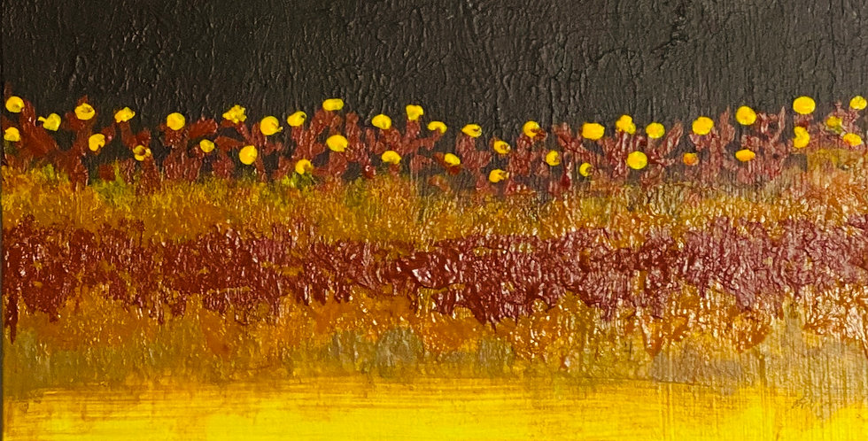 a small abstract painting representing marsh lands, Philadelphia Artist, Vidya Shyamsundar
