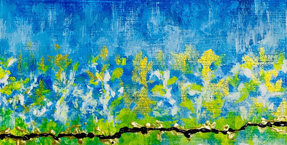 a small moonlight garden dance abstract painting, Mixed Media Artist, Vidya Shyamsundar, Philadelphia