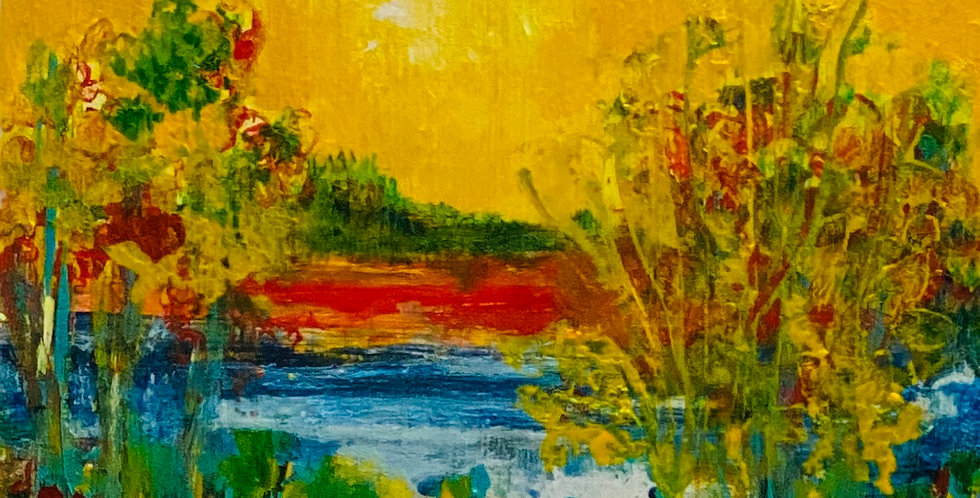 a small happy painting with yellow sky, Philadelphia Artist, Vidya Shyamsundar