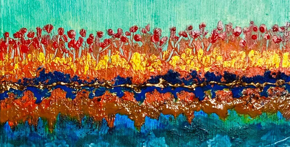 a small landscape painting with blue rocks, Philadelphia Artist, Vidya Shyamsundar