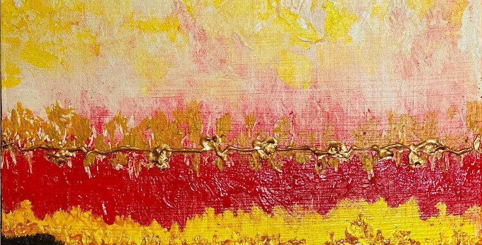 a mini abstract painting about festivity and celebration, Philadelphia Artist, Vidya Shyamsundar