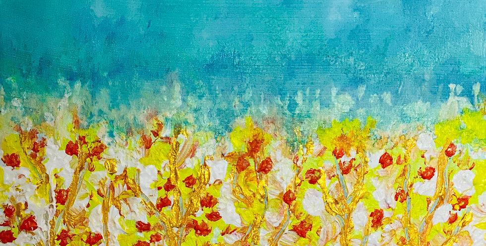a field of flowers and blue sky painting, Mixed Media Artist, Vidya Shyamsundar, Philadelphia