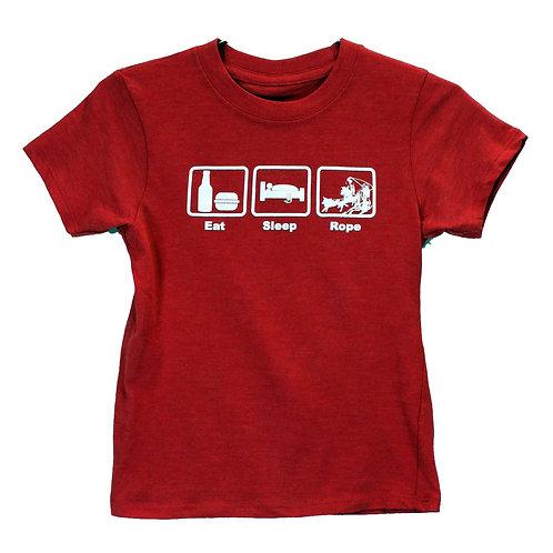 Youth Eat.Sleep.Roper Short Sleeve Tee, Red Heather