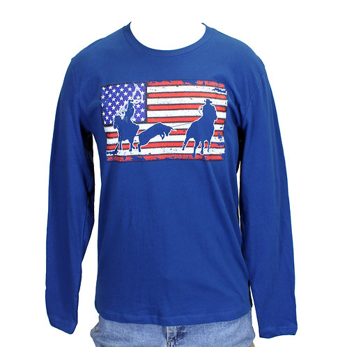 Team Roper Flag Long Sleeve Tee, Cool Blue