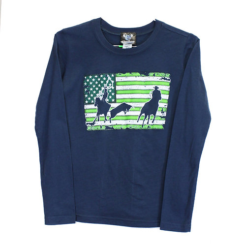 Youth Team Roper Flag Long Sleeve Tee, Indigo