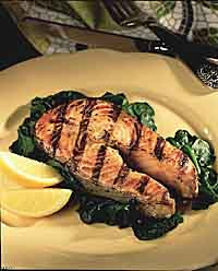 Grilled Five-Spice Salmon with Garlic Spinach
