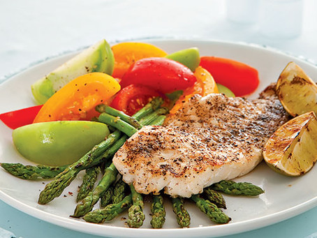 Broiled Orange Roughy with Green Peppercorn Sauce