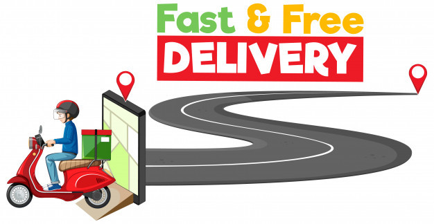 Animated image of a food delivery guy with the caption 'Fast & Free Delivery'