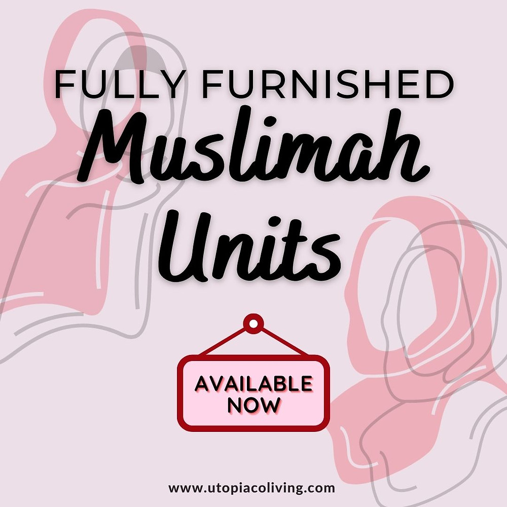 Available now sign by Utopia Co-Living, with 2 graphic women with hijabs alongside pink as its backgrounds