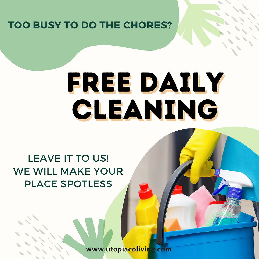 Utopia Co-Living Instagram post about free daily cleaning services