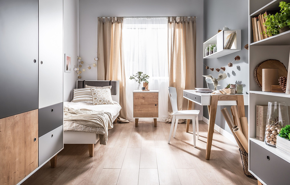 very elegant small bedroom with white furnitures