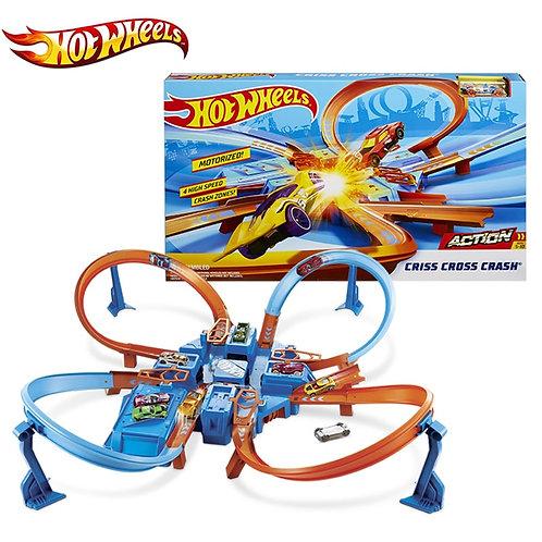 Original Hot Wheels Criss  Cross Crash Track Playset Mini Diecast