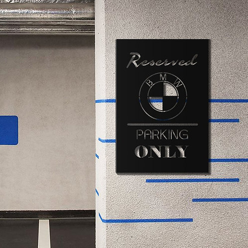 BMW Parking Only Metal Wall Decor