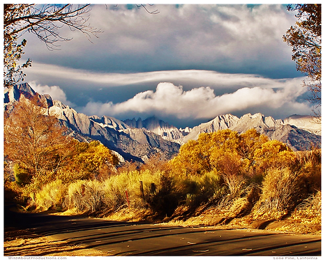 Along Tuttle Creek Road, Mt Whitney in the storm.