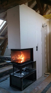 Pose d'un foyer épi, installation design