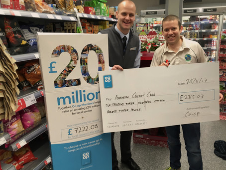 ASHBURTON CRICKET CLUB THANKS CO-OP FOR £2,315 CONTRIBUTION FROM COMMUNITY FUND
