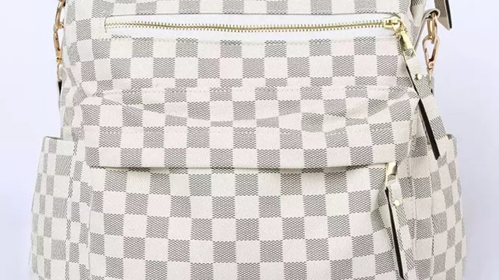 Large checkered backpack purse with detachable shoulder strap
