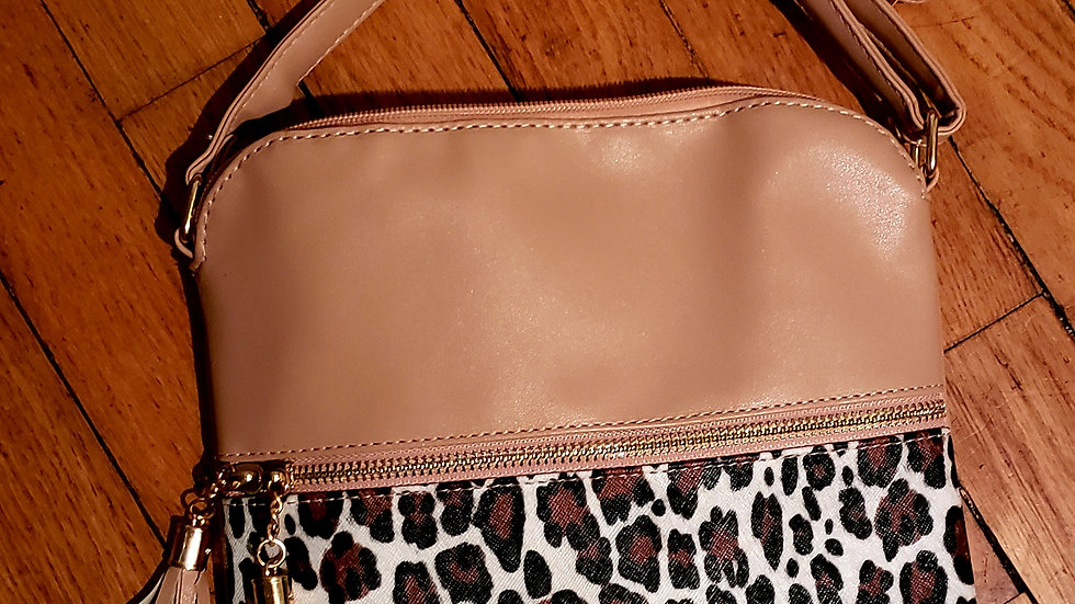 Leopard and pink nude cross body bag