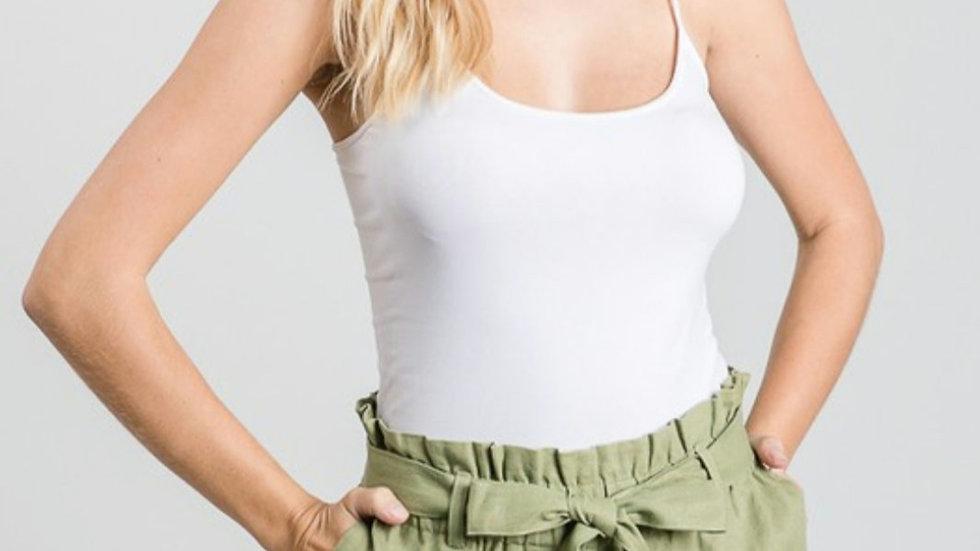 Olive linen paperbag shorts