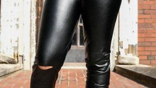 Vegan leather distressed leggings