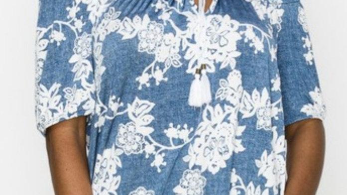 Off the shoulder blue floral top
