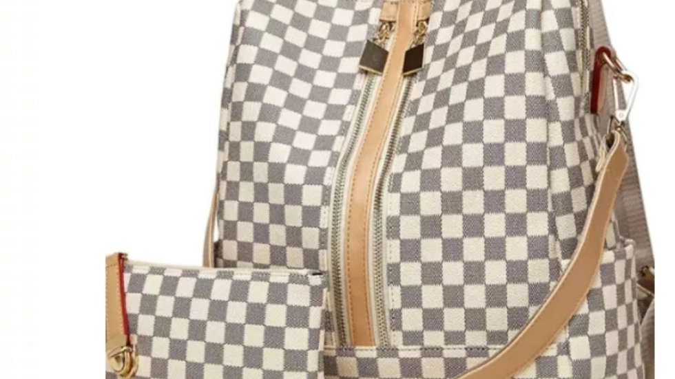 Checkerboard backpack with wristlet and shoulder strap