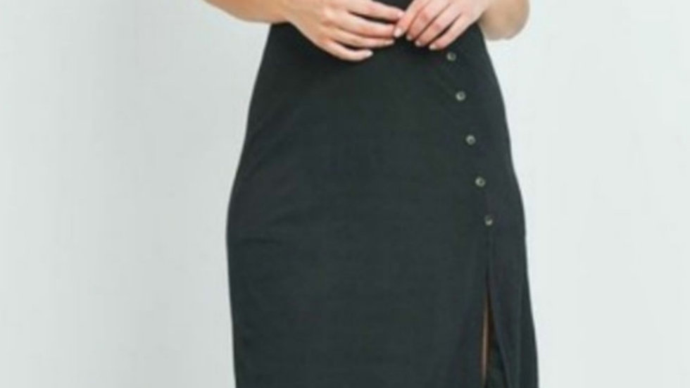 Little black midi dress with side slit and buttons