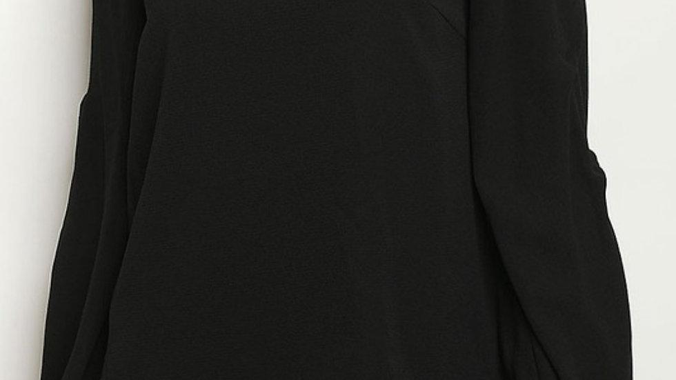 Black ruffle sleeve blouse