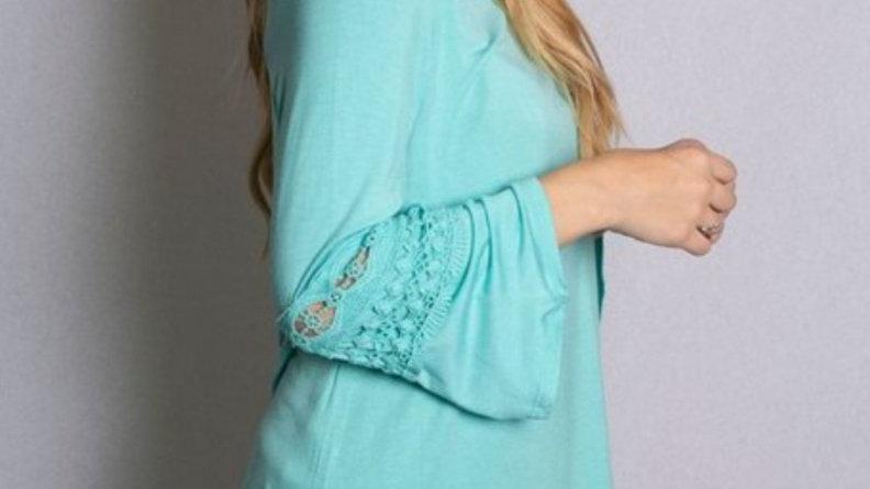 Aqua bell sleeve shirt dress with crochet detail