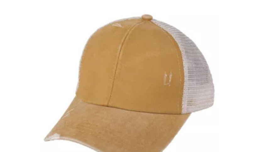 C.C brand ponytail cap distressed in gold or  charcoal
