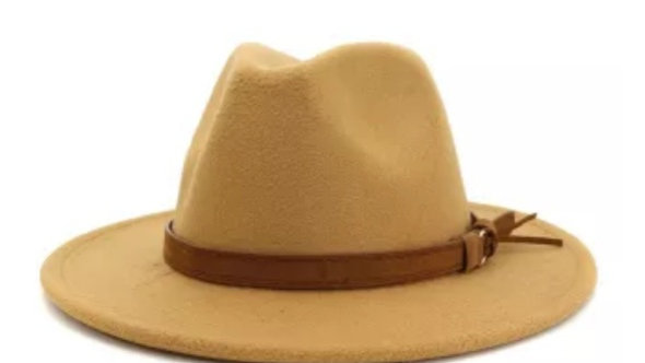 Wide brim felt hat with leather detail