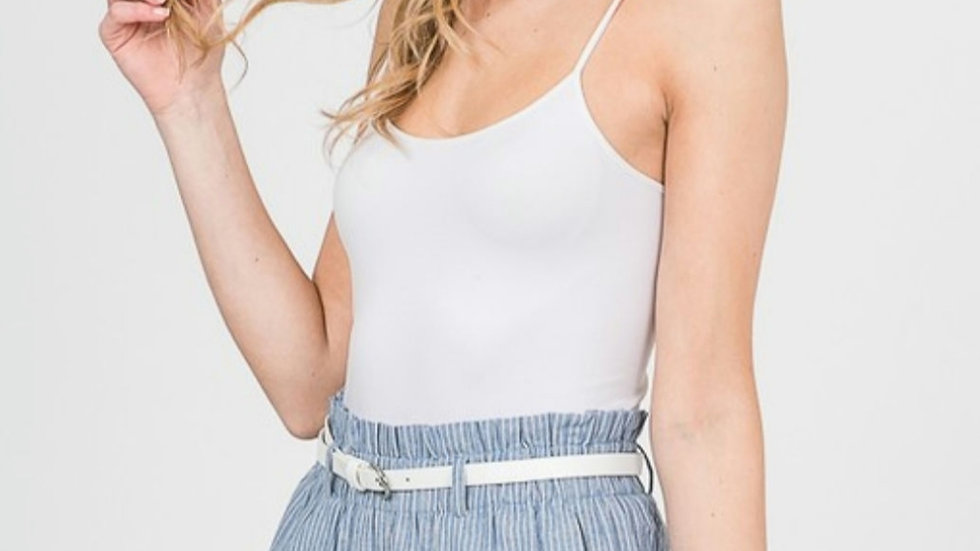Chambray and stripes paperbag shorts with belt