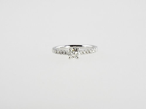 0.56 ct OLD CUT diamond solitaire set in 18ct White Gold Diamond Band