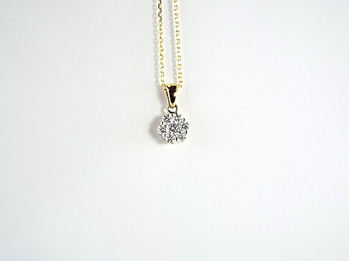 """.50 ct Diamond Cluster Pendant and 18 """" Chain in 18ct Yellow Gold"""
